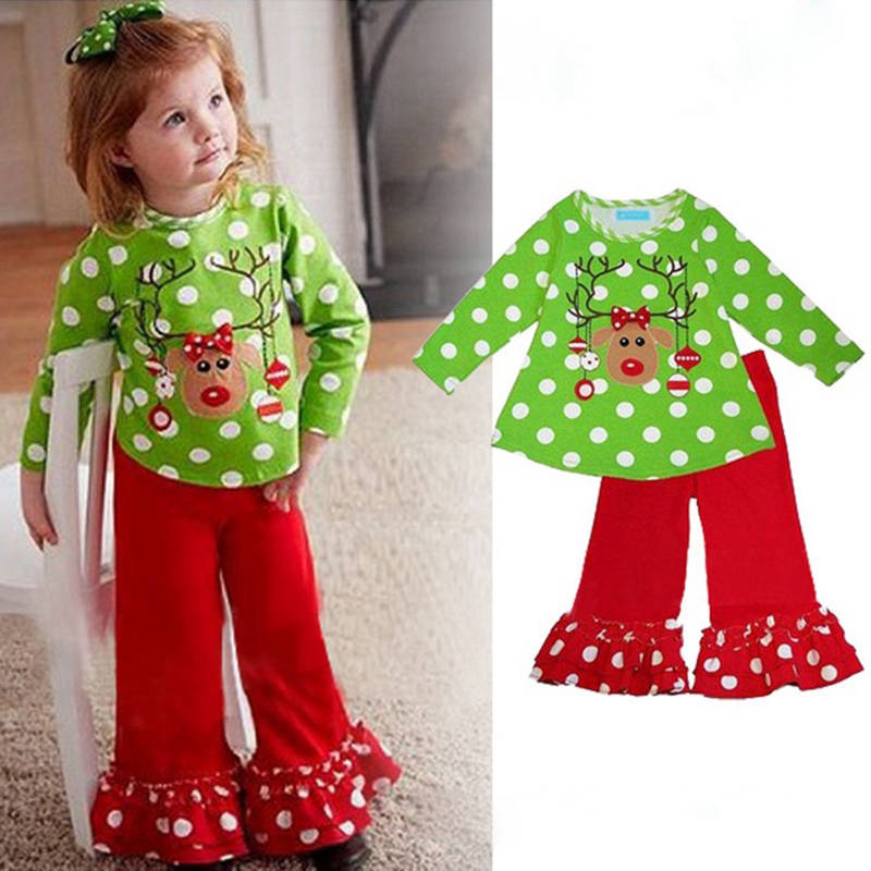 Girls Christmas Pajamas Kids Clothes Long Sleeve Tshirt Pants ...