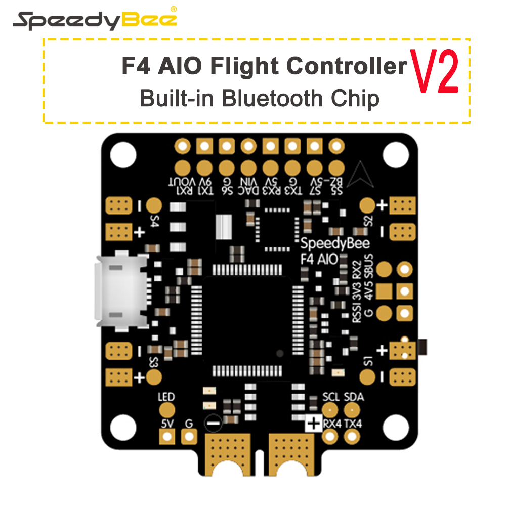 New Upgraded SpeedyBee F4 AIO V2 Flight Controller BLE Module Integrated Betaflight OSD Flight Control with 16MB Blackbox 1pcs ocday new edition hglrc f3 acro v2 2 flight control v2 1 revision integrated osd