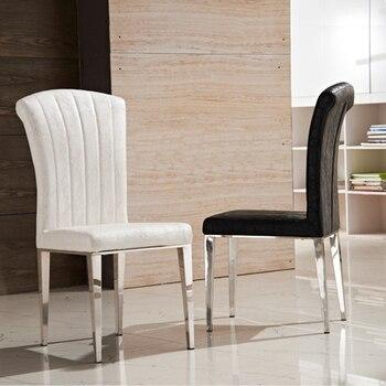 Mode klassieke stoel roestvrij staal lederen stoelen for Lederen stoelen