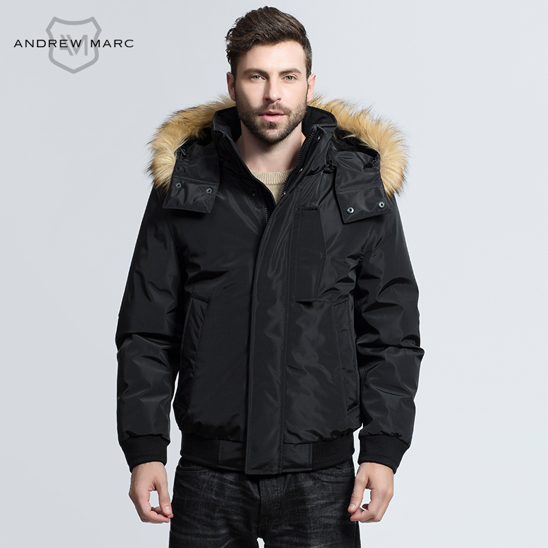 ANDREW MARC 2016 Men Grey Duck Down Parka Jacket Outwear Coat Windproof Brand Fashion Hooded Snow Winter Duck Down TM6AD200