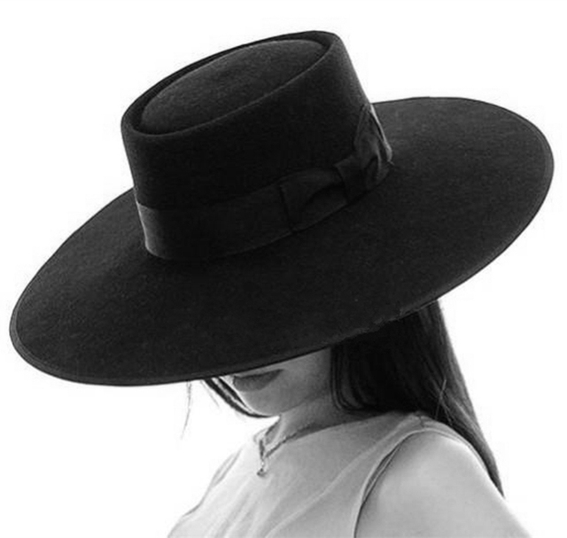 152015d9693 Black Wool Pork Pie Felt Fedora   Porkpie Exra Large Wide Brim Floppy Hat  12cm