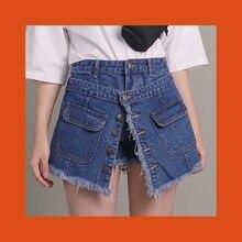 1ffa0742d2 2 desgaste manera botón frontal bolsillo Shorts faldas Ripped Frayed Tassel Denim  Shorts 2018 mujeres de cintura alta corto Jean.