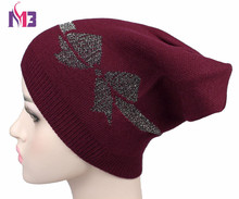 Autumn Winter Women Beanies Hat Knitted Cashmere Skullies Casual Cap for Shiny Bowknot Solid Colors Ski Gorros