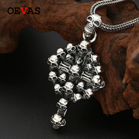 S925 silver Skull Cross Pendant necklace for men Top quality Gothic Punk style Thai silver jewelry Hip hop pendants dropshipping