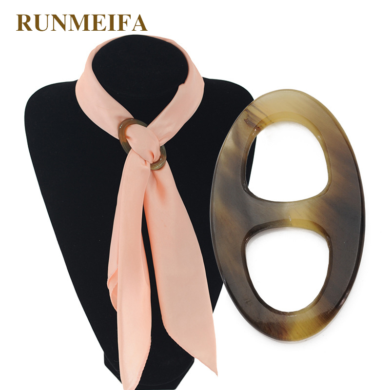 RUNMEIFA Jewel The Cylinder Pig Nose Shaped Buckle Ring Shaped Scarf Natural Ox Horn Scarf Buckle Environmental Free Shipping eagle shaped buckle belt