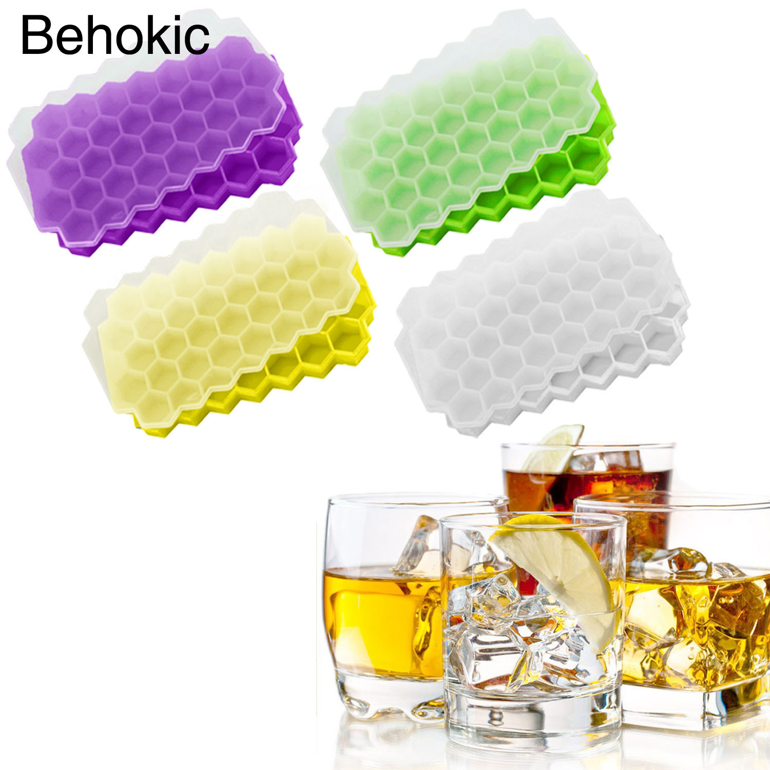 Behokic 37 Slots Silicone Honeycomb Shape Ice Cube Maker Mold Tray Ice Box with Lid for