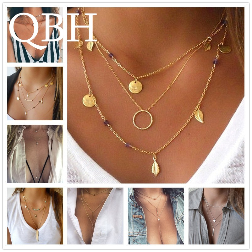 90438c6a2ba Hot Mode Multilayer Lange Kwastje Veer Leaf Coin Sleutelbeen Hangers Ketting  Punk Collier Chain Collares mujer