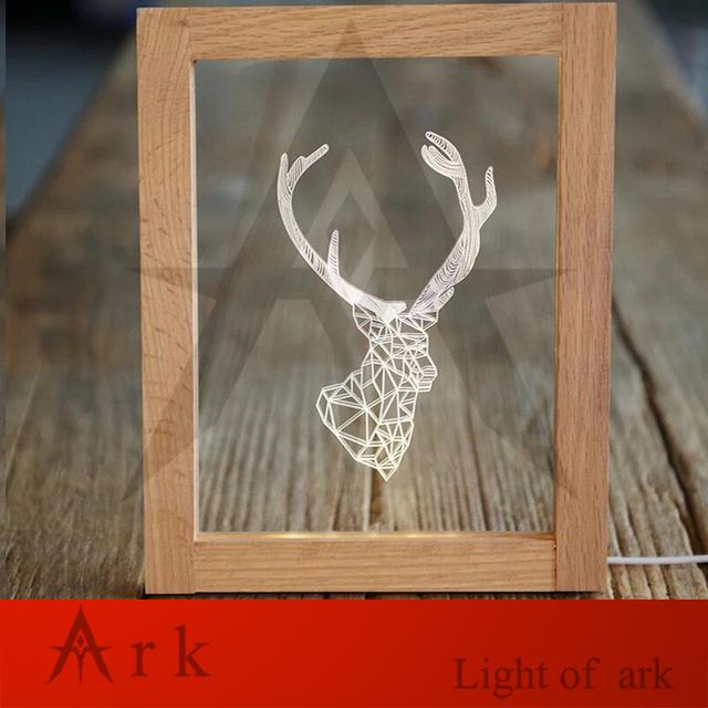 Luz arca criativo presente de aniversário de madeira photo frame led fio conector usb mesa de luz luz da noite inteligente free grátis
