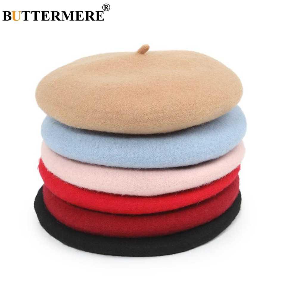 BUTTERMERE/детский шерстяной берет для девочек и мальчиков, детская французская шапочка на плоской подошве, однотонный, красный, синий, розовый, весна-осень-зима, Модный берет шапка