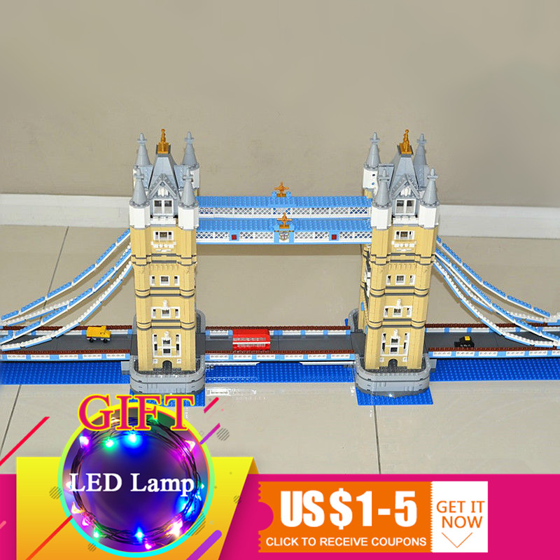 17004 4295pcs London bridge set Compatible with 10214 Model Building Blocks Kits Brick DIY Toys Gifts lepin 17004 city street london bridge model building kits assembling brick educational gift toys clone 10214
