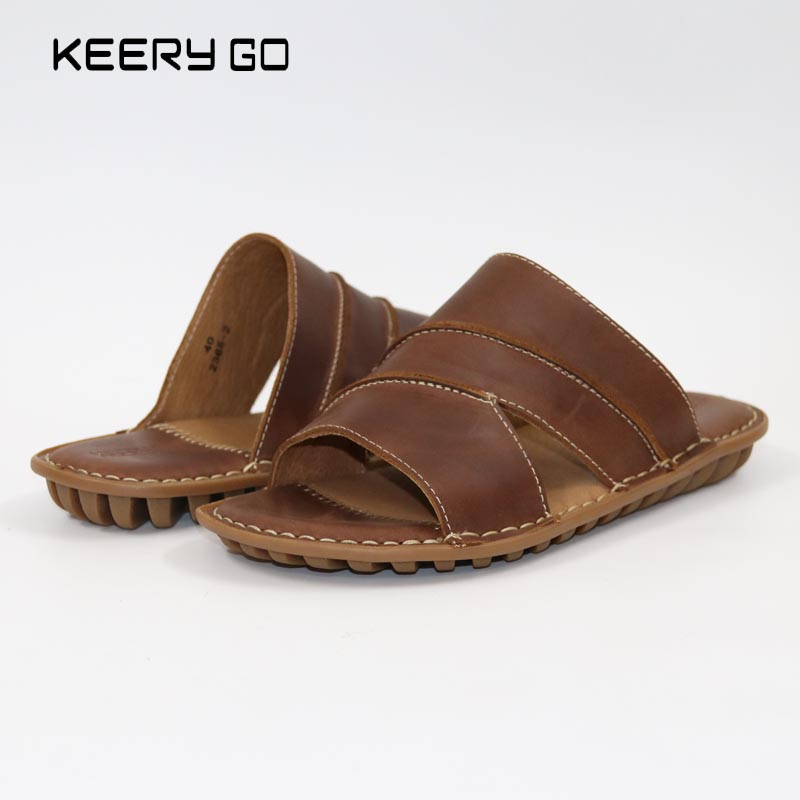 2017 new men font b slippers b font All handmade leather shoes