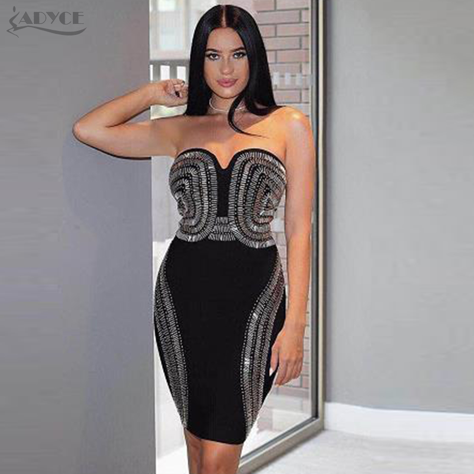 Adyce 2019 New Women Bandage Dress Summer Beads Sleeveless V- Neck Vestidos Luxurious Strapless Mini Dress Celebrity Party Dress