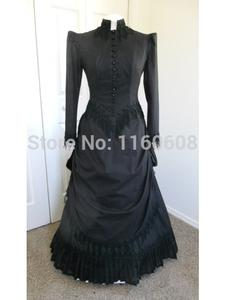 Black Long Sleeves Taffeta Gothic Victorian Gown Victorian Dress Period Dress