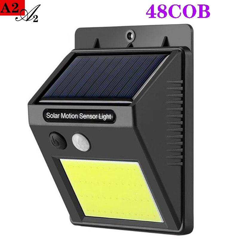 A2 Solar Lamp Warm Light Outdoor Garden 48COB LED Lighting Waterproof PIR Motion Sensor Lanten For Home Garden Yard Path Rode