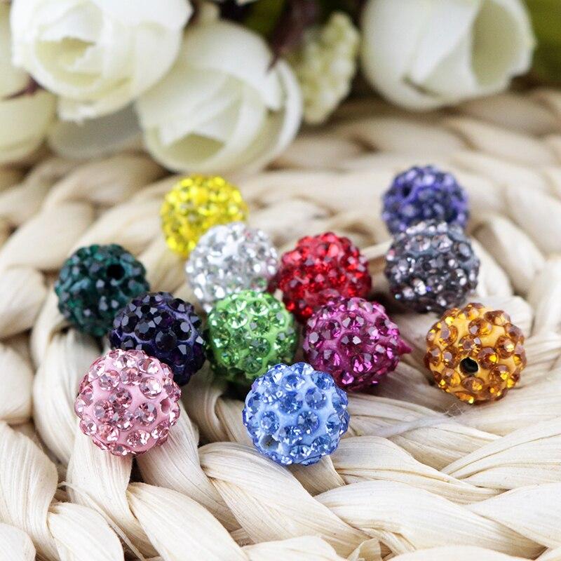 Shamballa Beads 100 Pcs Crystal Pave Disco Balls Fit Braclet 10MM yellow 5 row