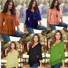 Kesebi 2017 Spring Summer New Fashion Women European Lace Stitching Tops Female Casual V-neck Solid Color T-shirts