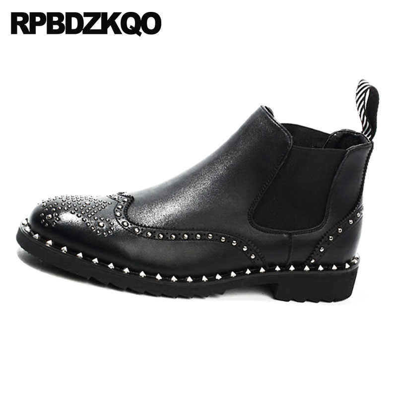 90a7be28806 Boots Black Metalic Wingtip Chelsea Flat Booties British Style Rivet Punk  Stud Rock Designer Shoes Men High Quality Top Brogue