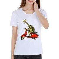 Vespa T Shirt Women Latest Tee Shirts Casual Funny Animal Giraffe Comfortable T Shirt Motorcycle Lady