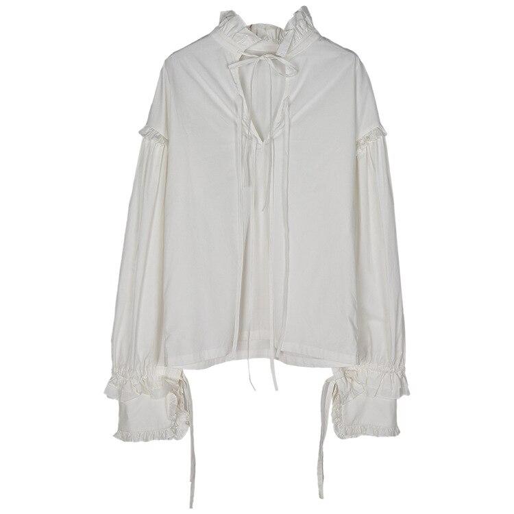 Vintage femmes à manches longues chemise blanc coton dentelle arc col montant lâche Blouse doux hauts C40 - 4