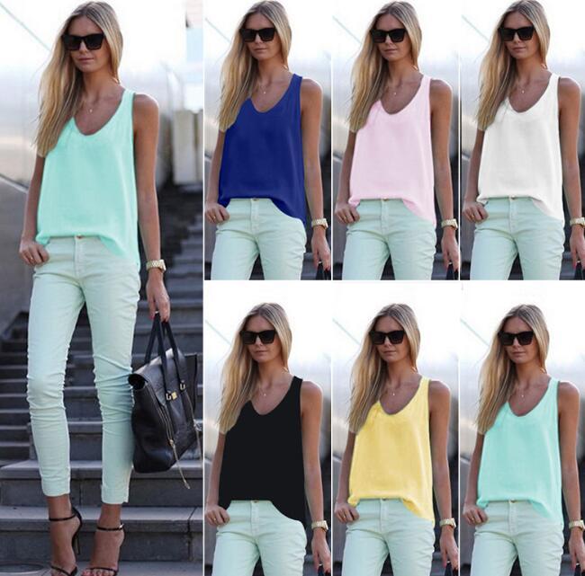 413eff0c6ca034 2018 New Women Summer Casual Tank Tops Sleeveless Chiffon Loose Vest Top  Blouse Tee Shirt Hot