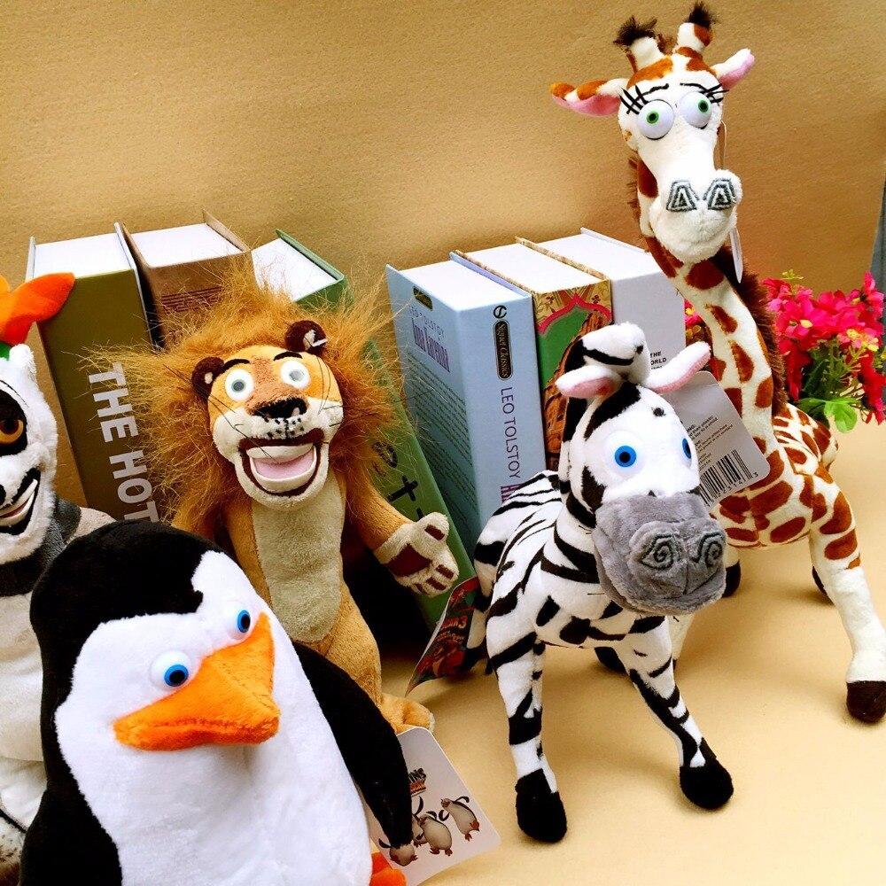 Wholesale-6-pcs-lot-Madagascar-Plush-Toys-Lion-Giraffe-Penguin-Zebra-Hippo-Monkey-Children-s-Gift