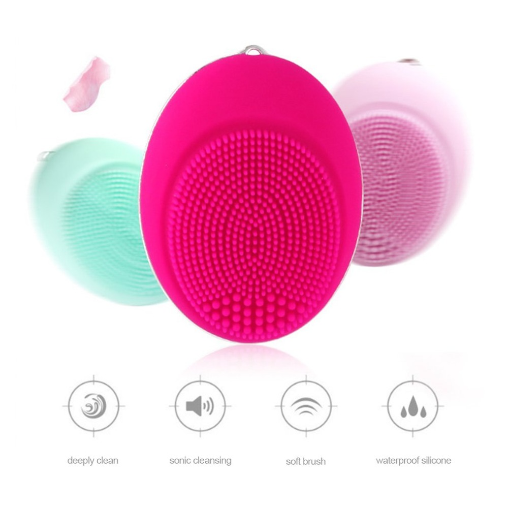Electric Facial Cleansing Brush Vibration Women Silicone Face Cleaner Deep Pore Cleaning waterproof Massage Exfoliator