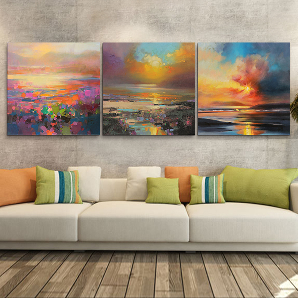 Buy 3 piece abstract wall art canvas sunset beach prints modern wall oil Canvas prints for living room