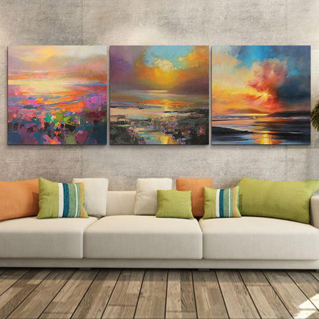 Aliexpresscom buy 3 piece abstract wall art canvas for Applying the harmony to your living room paintings