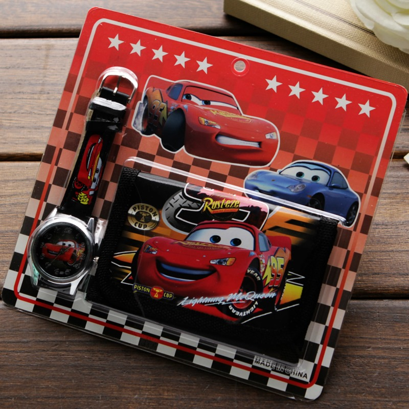 New Children Cartoon Wallet Watch Set Lovely Car Story Watches Girl Or Boy Birthday Gifts Quartz Leather Students Clock Hot Sale