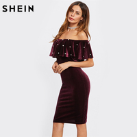 SHEIN Pearl Detail Frill Off The Shoulder Elegant Dress Burgundy Short Sleeve Sexy Club Dresses Short