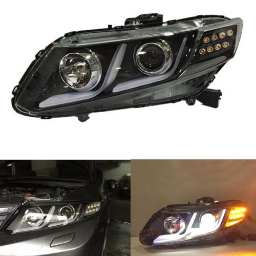 Headlights Bi Xenon Projector Lens LED Guide Light For Honda Civic 2012-2015 for chevrolet cruze tuning bi xenon projector lens head lights with led turn light 2015 year new arrival
