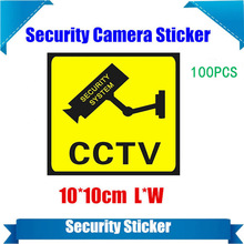 100 Pieces Waterproof Security Camera Sticker Warning Decal Signs For CCTV Surveillance,Fake Camera And Dummy Camera