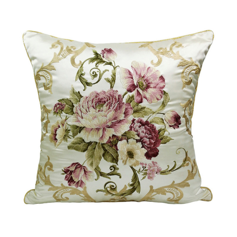 Free Shipping Luxurious Embroidery Silk-like Location Potted Rose Flowers Decorative Cushion Cover Designer Pillow Case 50x50 cm