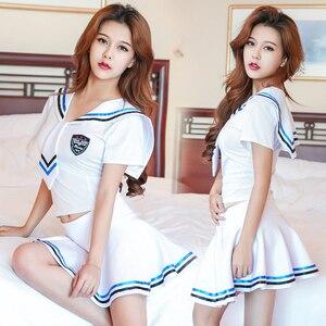Image 2 - 2018 new Sexy Lingerie girls School sailor uniform fashion school class navy Cosplay Woaixdd sexy School Uniform