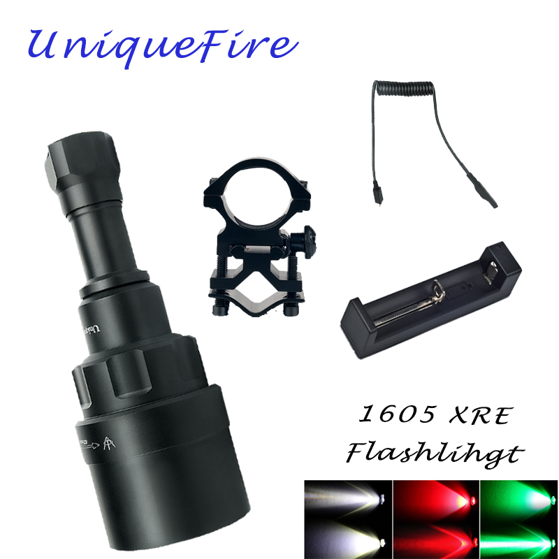 UniqueFire 1605 T67 CREE XRE LED Flashlight(Red/White/Green Light) 3 Modes 300 Lumens Torch Zoomable Lamp Aluminum Kit Set uniquefire 1503 led flashlight cree xre green red white light led torch 50mm convex lens 3 mode for camping