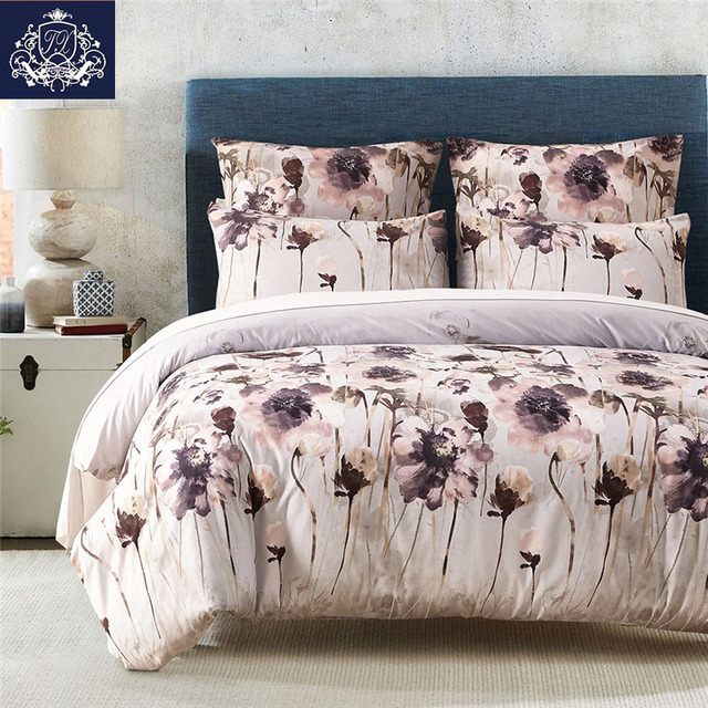 Chinese Style Bed Linen Twin Double Queen King Size Quilt Cover Flower Printed Soft Cotton Bedding
