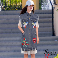 2017 European Fashion Women Vintage Long Denim Vest Jacket With Patchwork Torn Edges Stylish Ladies Sleeveless