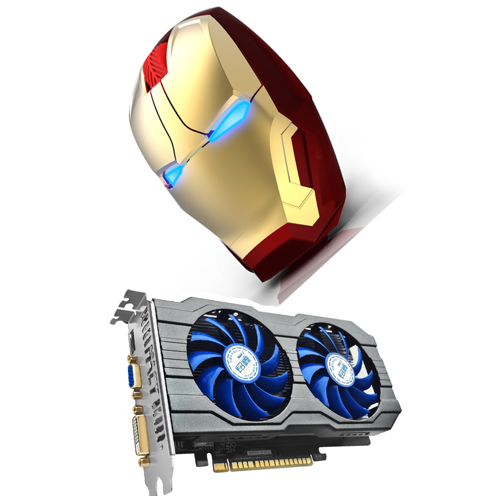 HOT sale IRON MAN wireless gaming mouse creative wireless mouse for video games nvidia GTX750ti video card 2G DDR5 graphic card
