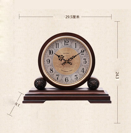 Vintage Fashion Decoration Clock European Living Room Mute Bedroom Table Retro Boxwood Table Large Clock Simple Quartz Clock