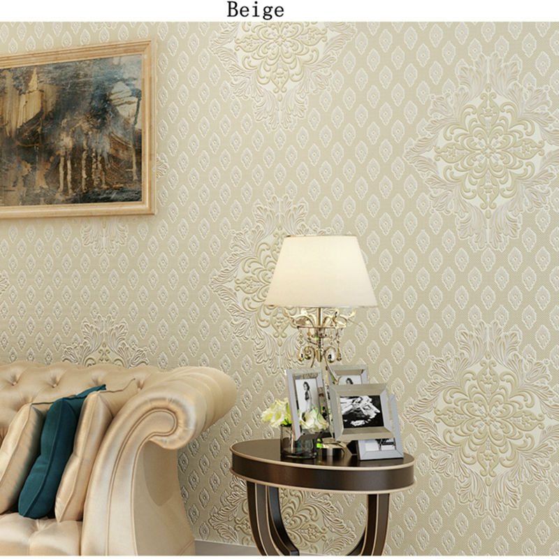 Non Woven European Glossy Stylish Modern Damask Wallpaper Living Room Luxury Wall Paper For And Bedroom