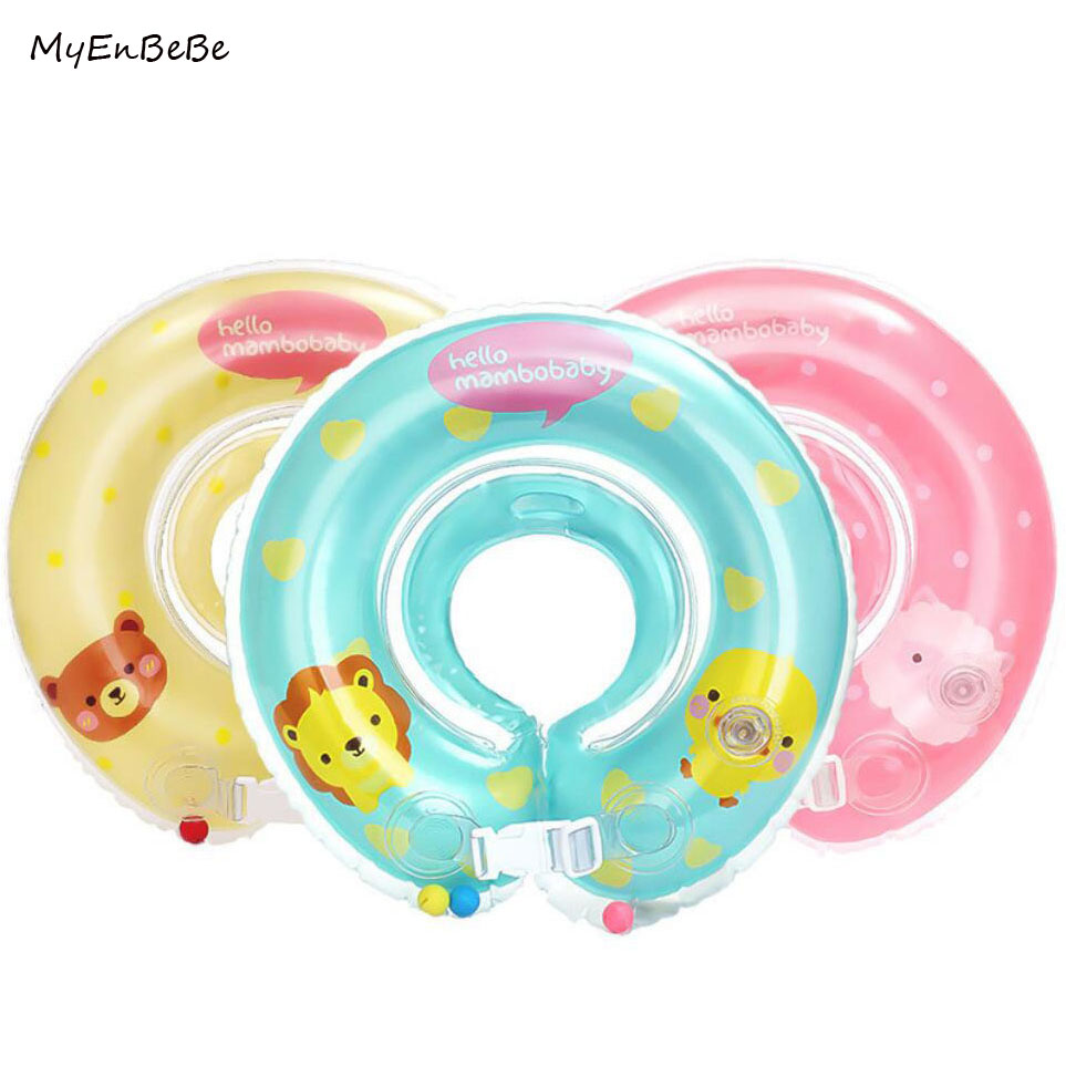 0-24M Baby Swimming Neck Float Ring Inflatable Kid Neck Swim Ring Circle Baby Bath Toy Swim Trainer Swimming Pool Accessories piscine accessoires pool baby swimming pools eco friendly pvc baby inflatable swim accessories water swim float necessaries