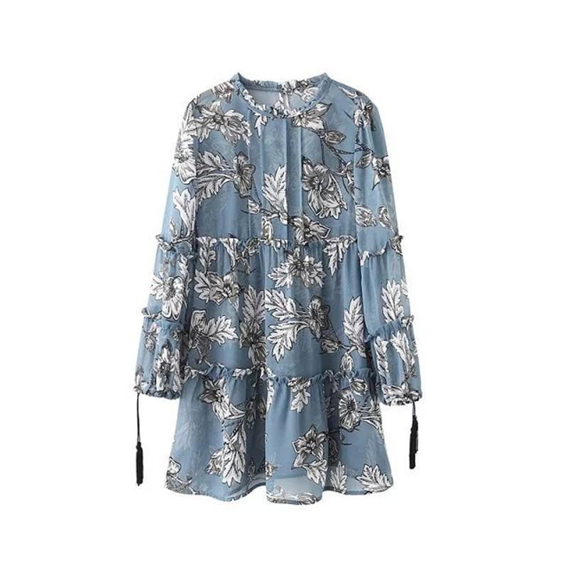 women dress Autumn winter long sleeve ruffle chiffon dress Vintage loose short dress Boho floral print tassel vestidos 16