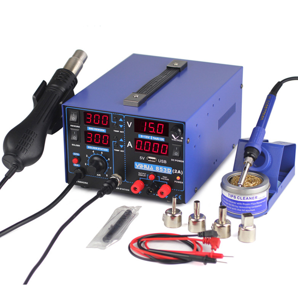 YIHUA 853D 2A with 5V USB welding station SMD DC power supply hot air gun soldering iron soldering station 3-in-1 220V 110V 1set 110v 220v 800w yihua 853d smd dc power supply hot air gun rework soldering station 60w soldering iron for welding repair