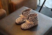 Children's single waterproof boots kids 2016 autumn winter baby girls leather fashion leopard soft flat shoes botas infantis