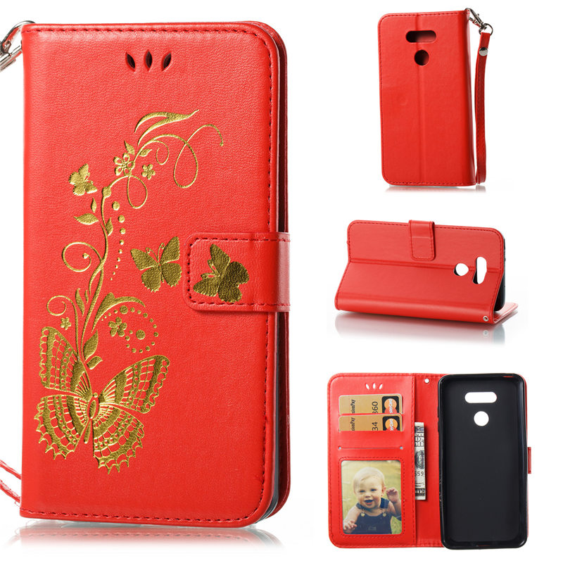 Luxury Gilding Butterfly Leather Case For Capa LG G6 H870 Case Stand Wallet Flip Cover 5.7 Purse Pouch Card Pockets Photo Frame
