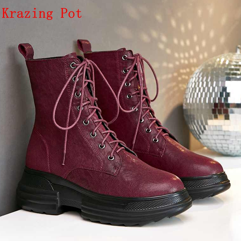 Krazing Pot natural sheep leather brand boots style motorcycle wine black color Winter shoes keep warm rivets ankle boots L12Krazing Pot natural sheep leather brand boots style motorcycle wine black color Winter shoes keep warm rivets ankle boots L12