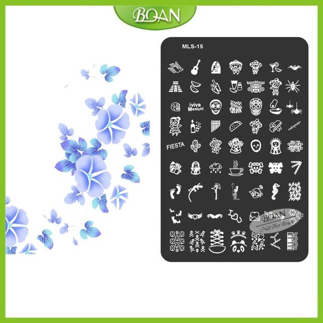10 Unids/set BQAN Envío Gratis Romantic Huella de Acero Inoxidable/Violín Patrones Nail Plate Estampación Kit MLS15