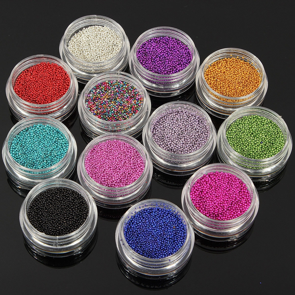 12 Colors Decoration Colorful Beads Micro Acrylic Women Glitter Nail Art  3D Caviar Pearls Design UV Gel Tips Mini Balls 2015 colorful acrylic nail glitter wheel glitter gold plated nail art jewelry women fingernail decoration supply wy165