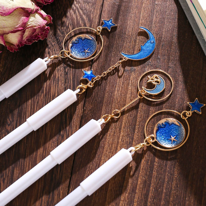 1Piece Gel Pen Creative Starry Sky Star Moon Pendant Signature Pen For Girls Gifts Kawaii Stationery School Office Supplies