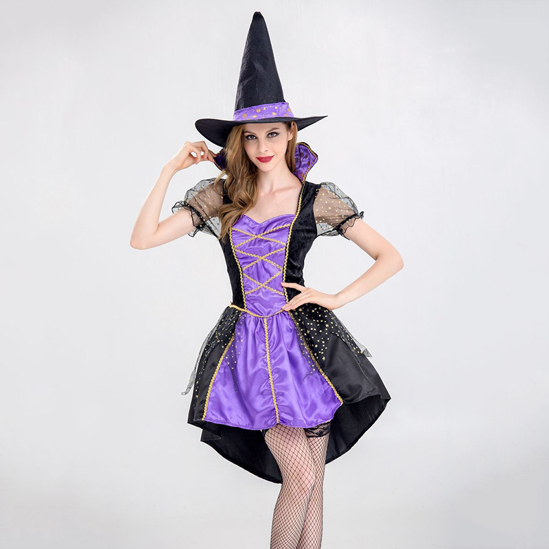 Purple Adult Halloween Costumes For Women Sexy Witch Costume Sorceress Fancy Dress Carnival Party Magic Show Cute Cosplay Outfit